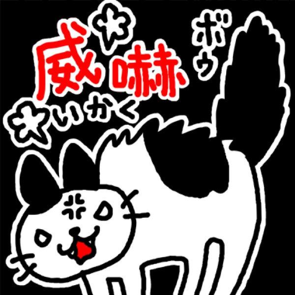 画像1: 威嚇するネコ Tシャツ (1)