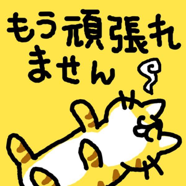 画像1: もう頑張れません猫 Tシャツ (1)